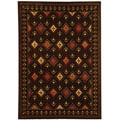 Fine-spun Regal Chocolate/ Multi Area Rug (4' x 5'7)
