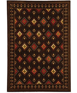 Fine-spun Regal Chocolate/ Multi Area Rug (6'7 x 9'6)