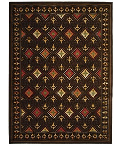 Fine-spun Regal Chocolate/ Multi Area Rug (7'10 x 11')