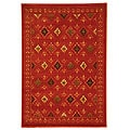 Fine-spun Regal Orange/ Multi Area Rug (5'3 x 7'7)