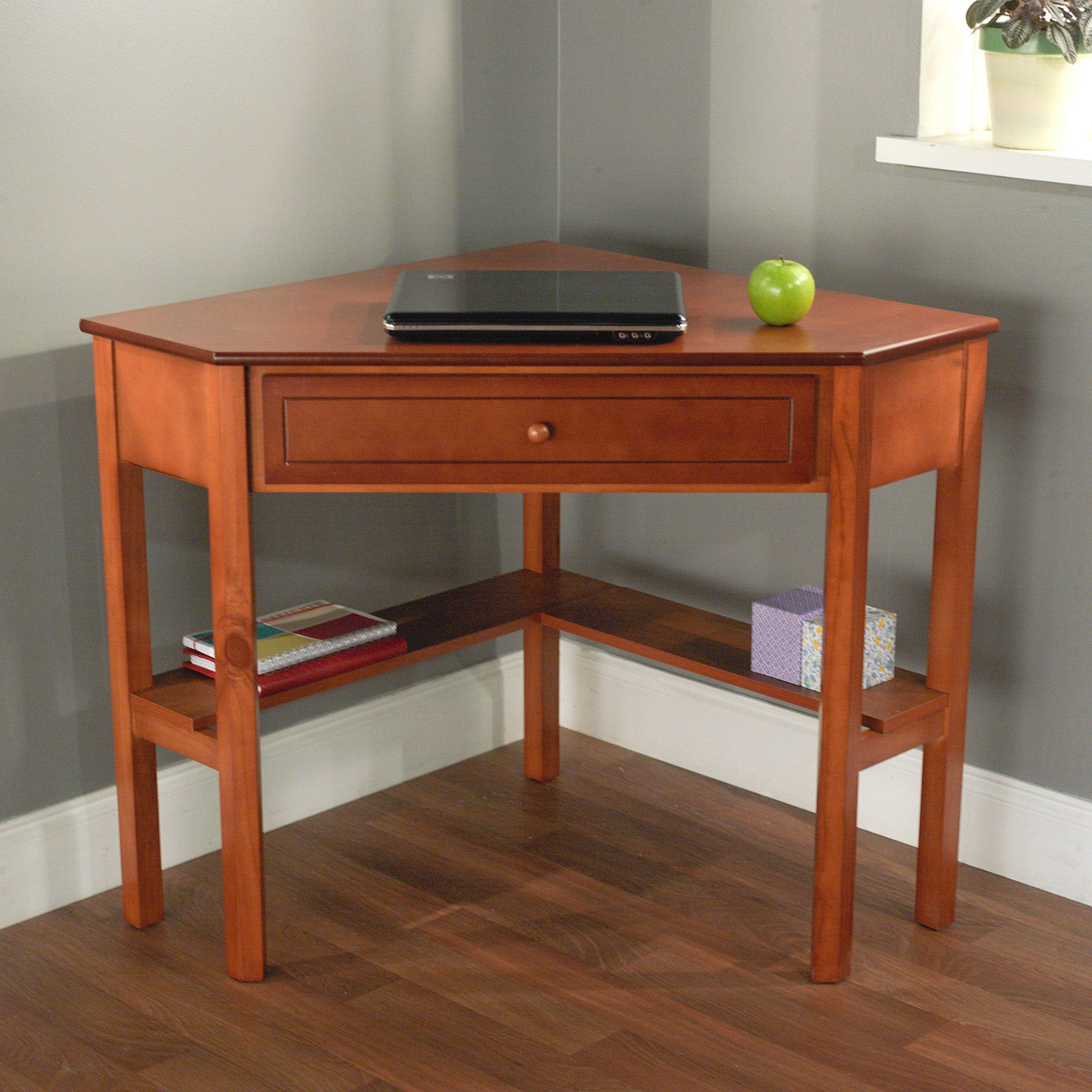 simple living wood corner computer desk overstock shopping great deals on simple living desks. Black Bedroom Furniture Sets. Home Design Ideas