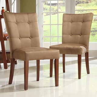 TRIBECCA HOME Tufted Button Back Peat Microfiber Side Chairs (Set of 2)