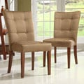 Tufted Button Back Peat Microfiber Side Chairs (Set of 2)