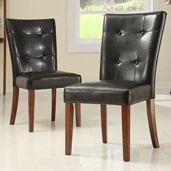 TRIBECCA HOME Tufted Button Back Dark Brown PU Side Chair (set of 2)