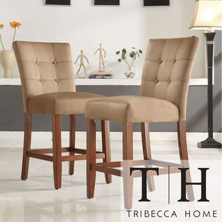 Tribecca Home Tufted Button Back Peat Microfiber 24-inch Chairs (Set of 2)