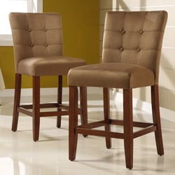 Tufted Button Back Peat Microfiber 24-inch Chairs (Set of 2)
