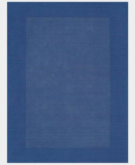 Hand-tufted Blue Border Wool Rug (5' x 8')