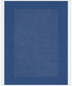 Hand-tufted Blue Border Wool Rug (5' x 8')