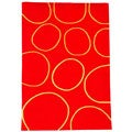 Hand-tufted Circle Red Wool Rug (5' x 8')