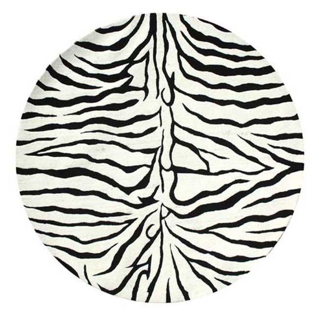 Hand-tufted Zebra Stripe Wool Rug (6 ft Round)
