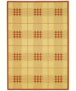 Indoor/ Outdoor Regal Natural/ Terracotta Rug (5'3 x 7'7)