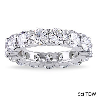 18k Whte Gold 5ct TDW Certified Diamond Eternity Band (G-H, I1-I2)