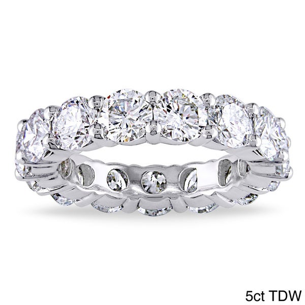 Miadora 18k White Gold 5ct TDW Diamond Eternity Ring (H-I, I1-I2)