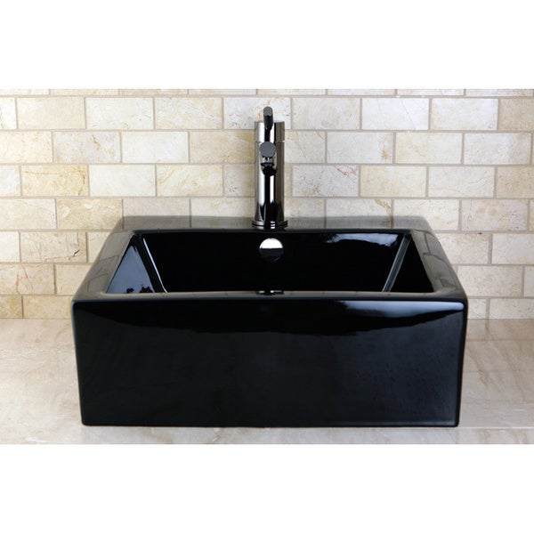 Vitreous China Black Lavatory Sink - 10718193 - Overstock.com Shopping ...