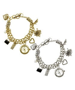Geneva Platinum Toggle Charm Plus Size Watch