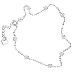 "Sterling Essentials Sterling Silver 9-inch plus 1"" extension Heart Charm and Flower Bead Anklet"
