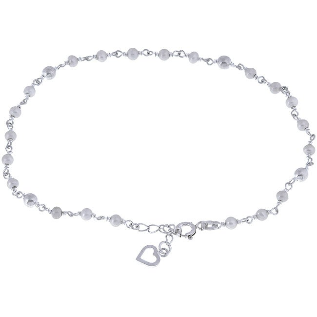 """Sterling Essentials Sterling Silver 9-inch plus 1"""" extension Freshwater Pearl and Heart Anklet"""