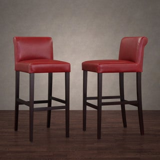 Cosmopolitan Burnt Red Leather Barstools (Set of 2)