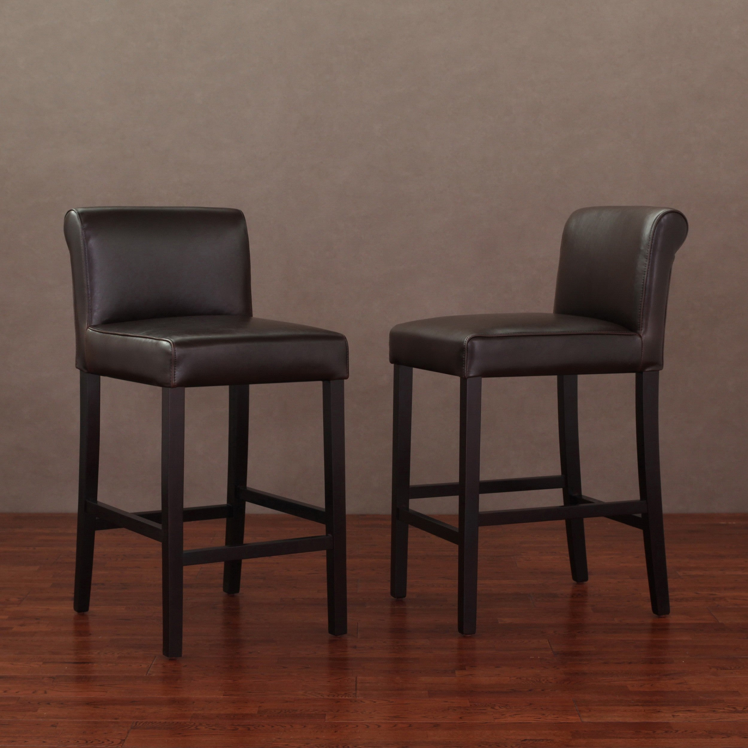 cosmopolitan dark brown leather counter stools set of 2 overstock shopping great deals on. Black Bedroom Furniture Sets. Home Design Ideas