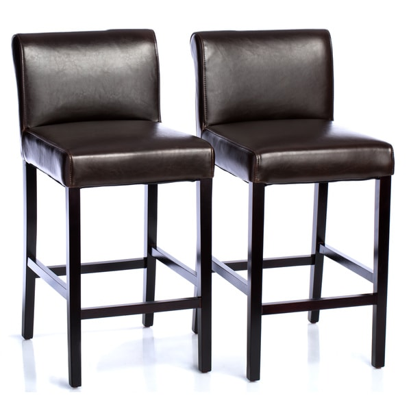 Cosmopolitan Dark Brown Leather Counter Stools Set Of 2