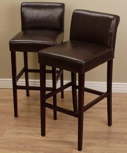 Buy Online Cosmopolitan Dark Brown Leather Counter Stools