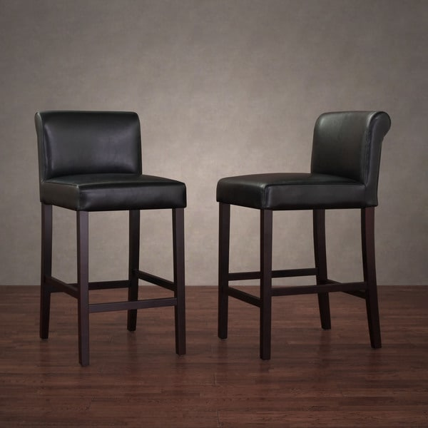 Cosmopolitan Black Leather Counter Stools Set Of 2