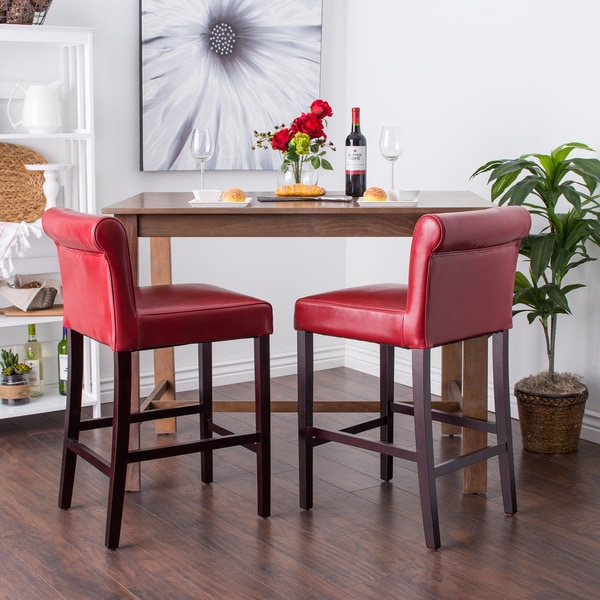 Cosmopolitan Burnt Red Leather Counter Stools (Set of 2)