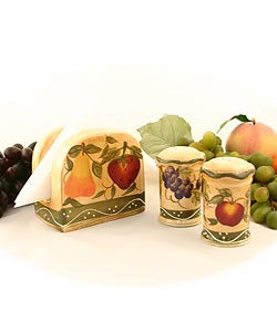 Tuscan Handpainted Napkin/ Salt/ Pepper Set