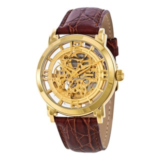 Stuhrling Original Men's Winchester Auto Skeleton Gold-Tone Watch