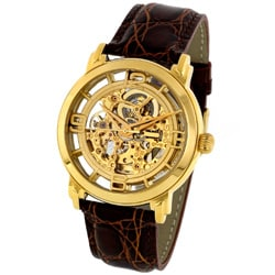 Stuhrling Original Men's Winchester Auto Skeleton Goldtone Watch