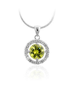 Kate Bissett Silvertone Green CZ Drop Pendant Necklace