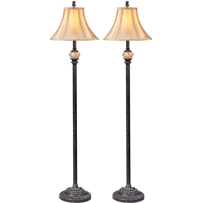 Sevilla traditional floor lamp set of 2 10725025 for Traditional gold floor lamp
