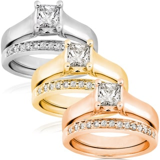 Annello 14k Gold 3/4ct TDW Diamond Solitaire Ring Bridal Ring Set (G-H, I1)