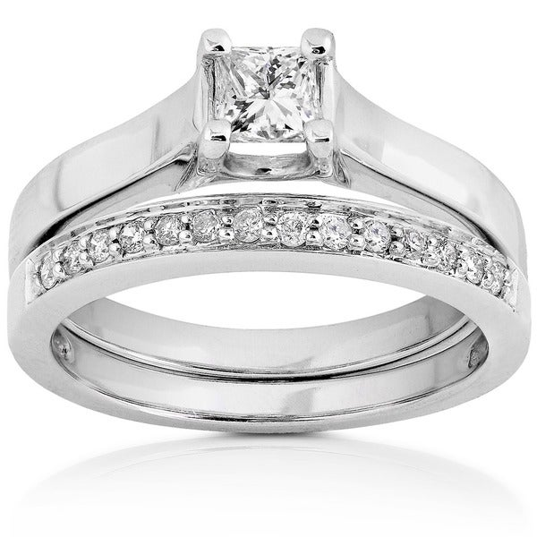 Annello 14k White Gold 1/2ct TDW Princess & Round Diamond Wedding Set (H-I, SI1-SI2)