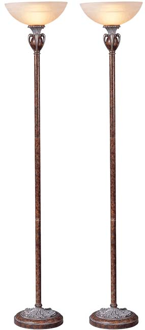 Ceaser Traditional Torchiere Floor Lamp (Set of 2)