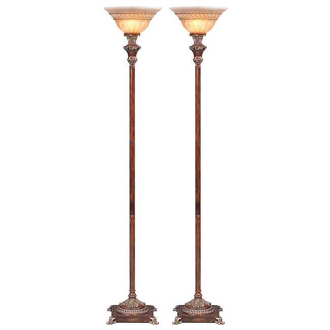 Torino Traditional Torchiere Floor Lamp (Set of 2)