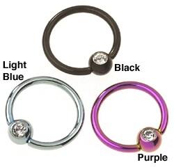 CGC Stainless Steel/ Titanium Crystal Hoop Body Ring