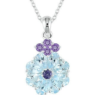 M by Miadora Sky Blue Topaz and Amethyst Necklace