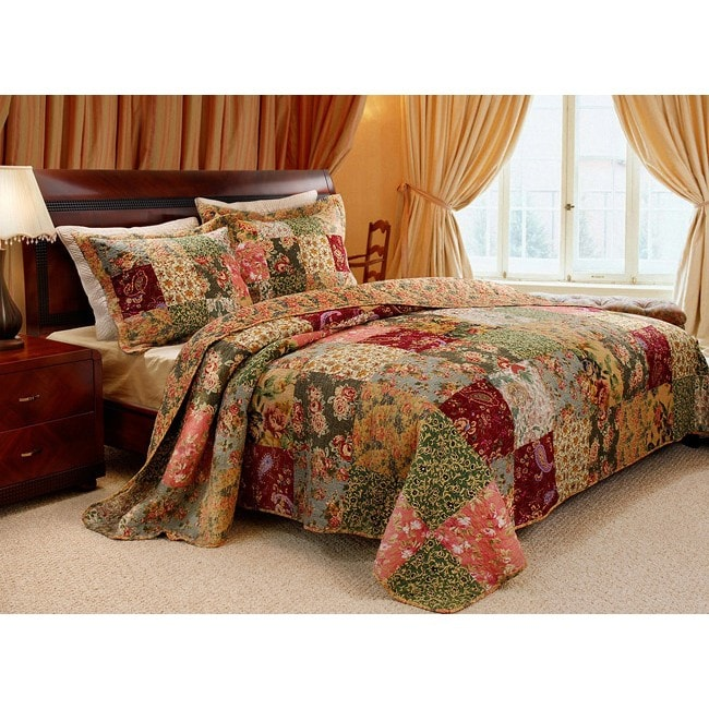 Overstock.com Greenland Home Fashions Antique Chic King-size 3-Piece Quilt Set
