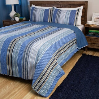 Greenland Home Fashions Brisbane Blue Striped 3-piece Quilt Set