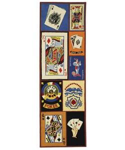 Hand-hooked Ultimate Poker Multi Wool Runner (2'6 x 8')