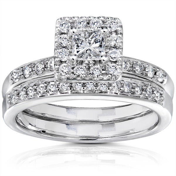 Annello 14k White Gold 3/5ct TW Princess Diamond Wedding Ring (I1-I2 )
