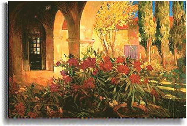 Twilight Courtyard by P. Craig Stretched Canvas