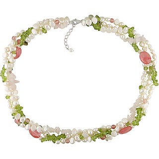 M by Miadora White Cultured Freshwater Pearl and Multi-gemstone Necklace (5.5-6 mm) with Bo
