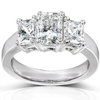 Annello 14k White Gold 2-4/5ct TDW Radiant Diamond Ring