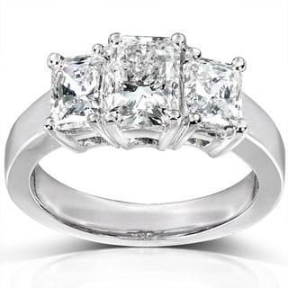Annello 14k White Gold 2-4/5ct TDW Radiant Diamond Ring
