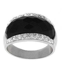 ICZ Stonez Sterling Silver Faceted Onyx and CZ Ring