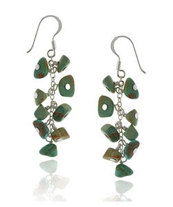 Glitzy Rocks Sterling Silver Turquoise Cluster Earrings