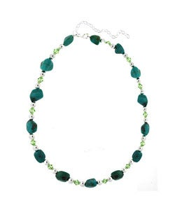 Glitzy Rocks Sterling Silver Turquoise/ Crystal Necklace