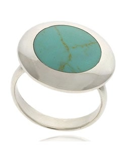 Glitzy Rocks Sterling Silver Inlay Turquoise Circle Ring